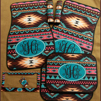 Car Mats Aztec Tribal Monogrammed Gift Ideas Car Accessories Set Car Mat Personalized Car Mats Monogrammed Car Mats Accessory Custom