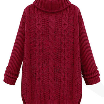 Turtle Neck Long Sleeve Knit Sweater
