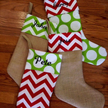 Burlap Christmas Stockings - Trendy - Chevron Dot - Personalized