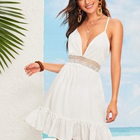 Plunging Neck Tie Back Lace Insert Dress