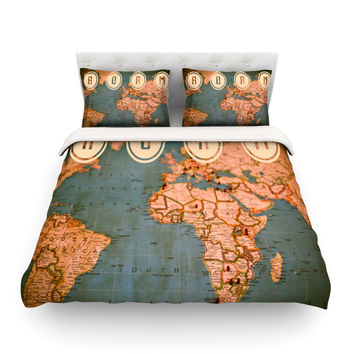 "Ann Barnes ""Roam II"" World Map Featherweight Duvet Cover"