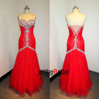 New Fashion Cheap Sweetheart Crystals Beaded Red Tulle Mermaid Prom Dress Gown Long/Homecoming Dress/Evening Dress/Party Dress/Plus size