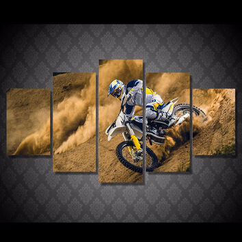 Dust And Dirt Motocross MX Dirt Bike 5-Piece Canvas Wall Art Hanging