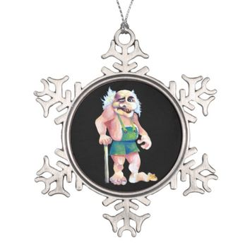 Scandinavian Funny Looking Ogre Troll Snowflake Pewter Christmas Ornament