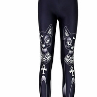 Black Tribal Cat Legging