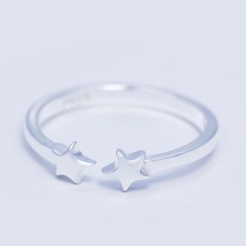 Lovely simple two stars 925 sterling silver ring,a perfect gift