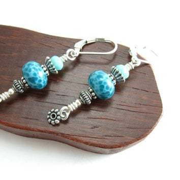 Teal Aqua Sterling Silver Artisan Earrings Lever Back Earrings Handmade Artisan Jewelry BooBeads