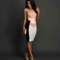 Navy Pastel Colorblock Fitted Midi Dress