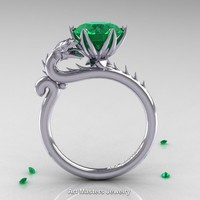 Art Masters 14K White Gold 3.0 Ct Emerald Dragon Engagement Ring R801-14KWGEM