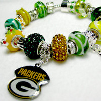 Licensed Green Bay Packers Charm on a European Style Bracelet - Double Sparkle
