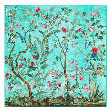 130cm*130cm 2017 Brand Silk Scarf Singing Birds Fragrant Flowers Print Scarf For Women Headband,Twill Large Square Scarf Shawl