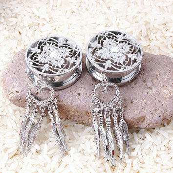flower surgical steel ear gauges with dangle heart leaf dream catcher style piercing jewelrys ear plug new stretcher expander