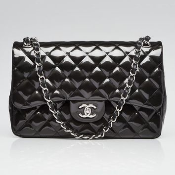 Chanel Dark Grey Quilted Striated Patent Leather Classic Jumbo Double Flap Bag