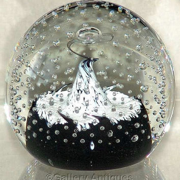 Caithness Starlight Sable art glass Controlled Bubbles Large Paperweight designed by Colin Terris Signed vintage retro early 1990's