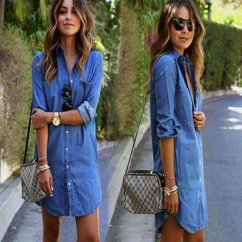 Blue Sexy Long Denim Shirt For Women