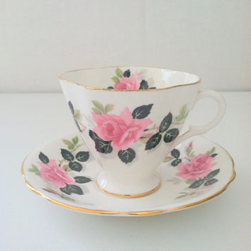 English Bone China Clarence Footed Teacup and Saucer Tea Party Wedding, Birthday, Thank You or Housewarming Gift Inspiration