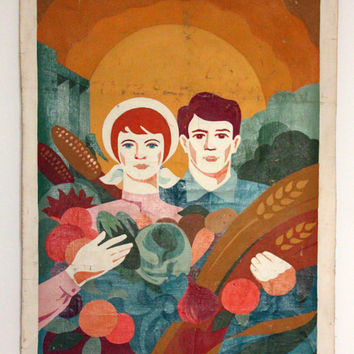 HUGE Soviet Oil Painting / 1960's USSR Oil on Canvas 41,3''x25,6'' Artwork | Woman, Man & Vegetables Socialist Realism, Propaganda Wall Art