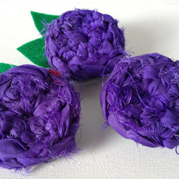 Purple Rose Brooch. Crochet Sari Silk Flower, Silk and Felt Flower Brooch, Purple Silk Rose, Hand Crochet Flower Brooch, Crochet Flower