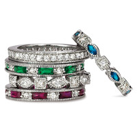 SusanB.Designs Simulated Emerald Sapphire Ruby 5 Band Stackable Ring Set