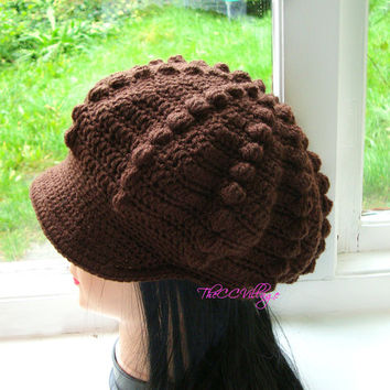 Brown Crochet Womens Hats, crochet Teen Hat, crochet woman Cap, Beanie