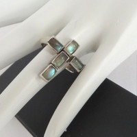 Vintage Sterling Silver Labradorite Cross Ring, Size 6