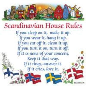 Norwegian Gift Kitchen Magnet Tile (House Rules)