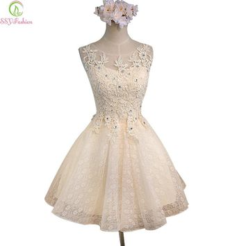 Sweet Champagne Lace Flower Sleeveless Short Cocktail Dress Bridal Banquet Party Gown Homecoming Dress