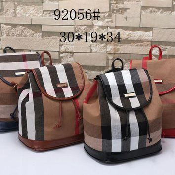 VONE05C Burberry' Women Casual Multicolor Stripe Backpack Double Shoulder Bag