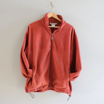 Columbia Fleece Jacket Rustic Orange Cinched Hem Oversized Outdoor Zip up Jacket Unisex  90s Minimalist Vintage Size L - XL
