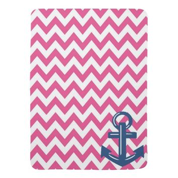 Pink and White Chevron Anchor Throw Blanket Stroller Blanket
