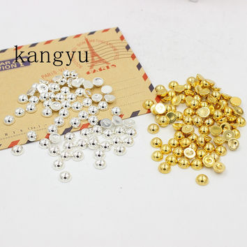 Free Shipping Gold and Silver 6mm 300Pcs Craft ABS Imitation Pearls Half Round Flatback Pearls Resin Beads Nail Art Decorate Diy