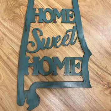 Front Door Decor Monogrammed Wreath Wood Wreath Housewarming Gift Home Decor Wedding Gift Wall Decor Front Door Hanger Alabama Door Sign