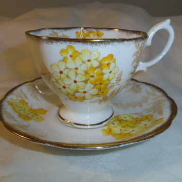 Royal Albert Crown China (1927 - 1935) Fern Lea Cup and Saucer in Yellow