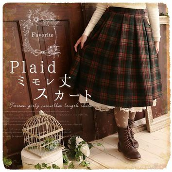 Vintage England Style Woolen Plaid Skirt Winter Women Skirts Thicken Loose Casual Mori Girl Preppy British Pleated Skirts Saia