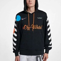 OFF-WHITE X NIKE black and white OW joint name black and white hoodie sweater black