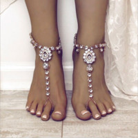 Retro national wind yoga foot ornaments water drops gemstone anklet