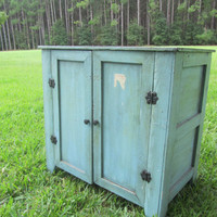 Vintage wood Cabinet, cupboard,wood furniture, kitchen cabinet,shabby chic decor, farmhouse decor,pie safe,rustic,solid wood,hand made,aqua,