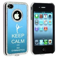 Apple iPhone 4 4S 4G Light Blue S1634 Rhinestone Crystal Bling Aluminum Plated Hard Case Cover Keep Calm and Do Gymnastics