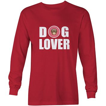 Chocolate Brown Shih Tzu Dog Lover Long Sleeve Red Unisex Tshirt Adult Double Extra Large BB5319-LS-RED-2XL