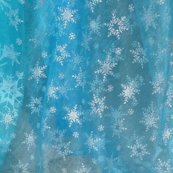 Frozen Fabric Queen Elsa Ice Sky Blue Snowflake Organza Disney Fabric with Silver Sparkle Snowflakes Cape and Costume Fabric By The Yard