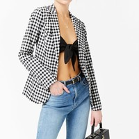Gingham Button-Front Blazer