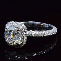 Cubic Zirconia Engagement Ring- 2.95 TCW Cushion Cut Halo with Pave Band