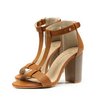 Open Toe Ankle Wrap High Chunky Heels Sandals