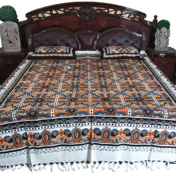 Indian Bedspread- Galicha India Inspired Print Orange Blue Handloom Cotton Bed Cover with Pillowcovers