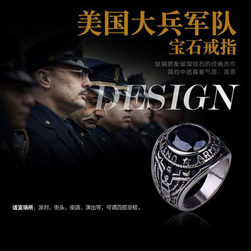 New fashion titanium steel Agate ring Jewelry unisex soldier rings