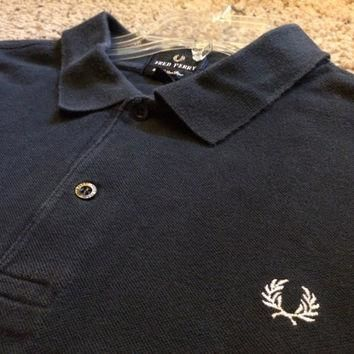 Sale!! Vintage Fred Perry Long sleeve casual cotton polo shirt size Mens XL punk ska o