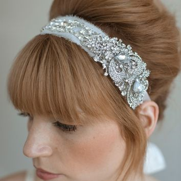 Bridal rhinestone headband - Rhinestone adorned silk chiffon headband - Style 011 - Made to Order