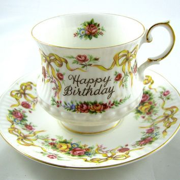 HAPPY BIRTHDAY Rosina China vintage TEA CUP & SAUCER Queen's England Bone China