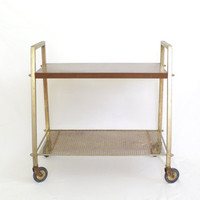 vintage rolling rack // vintage television table / mid century modern drink cart / vintage record storage / vintage bookshelf / kitchen cart