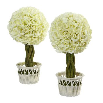 Silk Flowers -13 Inch Rose Topiary In White Pot -Set Of 2S Artificial Plant
